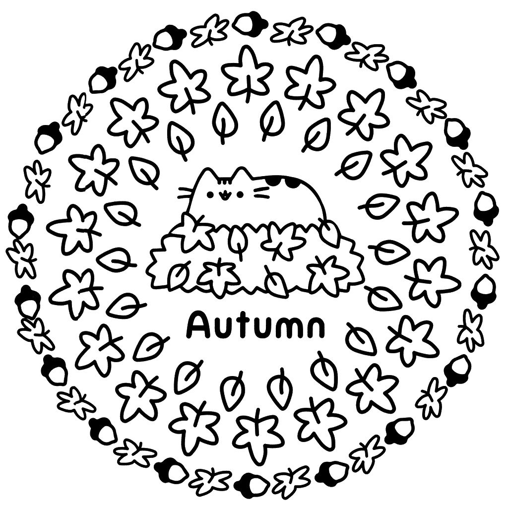 Autumn Pusheen Pusheen Coloring Pages Fall Coloring Pages