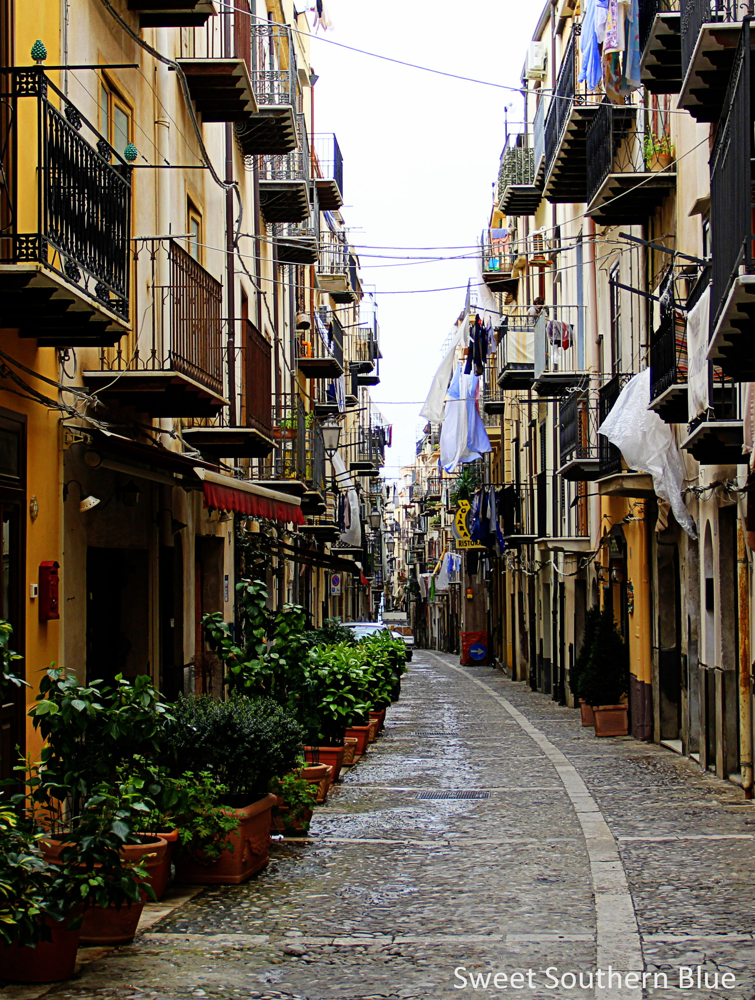 Cefalu, Sicily, Italy ~ We walked the narrow cobblestone streets of Cefalu down to the sea.