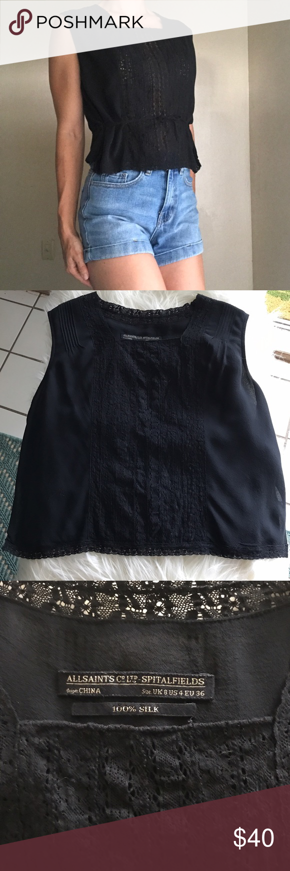 All Saints Silk Top All Saints Cropped Silk Top  • Black with lace & tie front detailing. Beautiful stitch details along shoulders as well • Fits true to size small, no stretch. Tag states the size is U.K. 8 US 4 and EU 36 • Excellent condition, no signs of wear  No trades please. Reasonable offers considered. Bundle discount: 15% off 2 or more items ✨ All Saints Tops Crop Tops