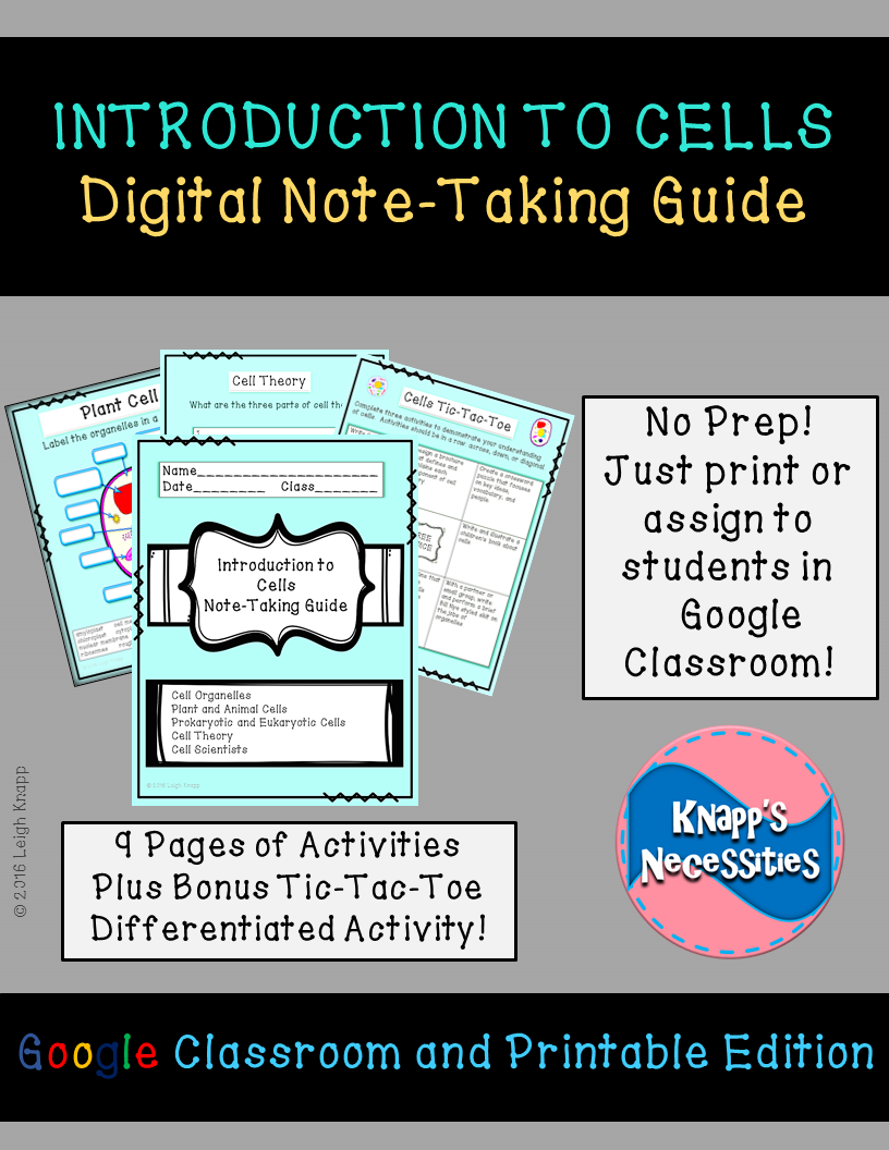 The Cells Digital Note-Taking Guide for Google Classroom provides students  with an opportunity to