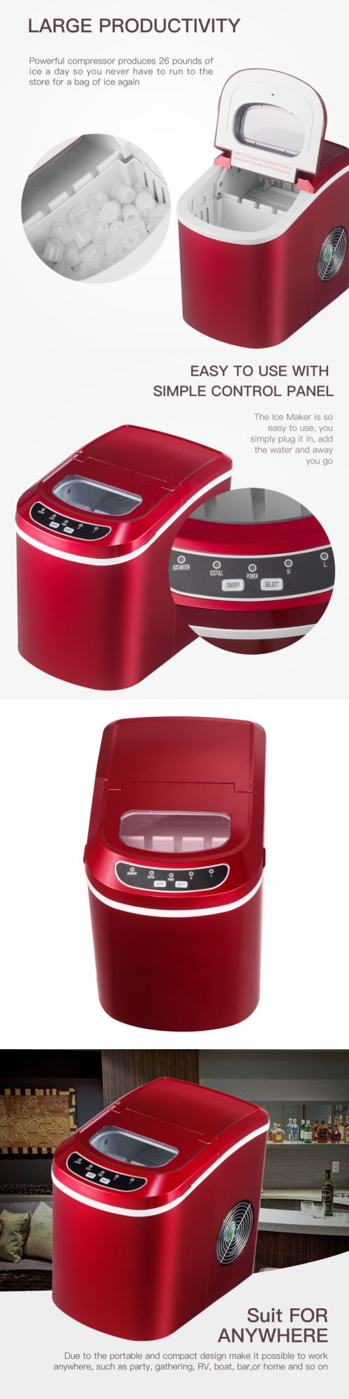 Countertop Ice Makers 122929 Kenwell Electric Ice Maker Portable