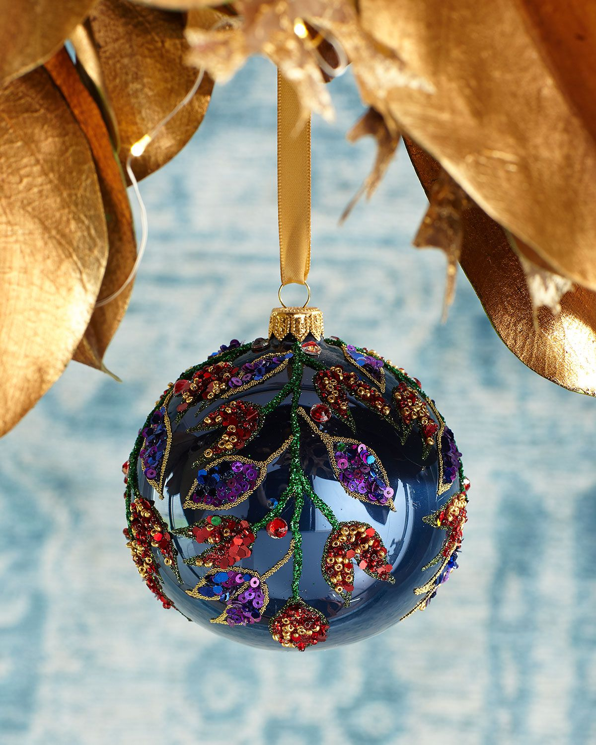Neiman Marcus Luxury Christmas Gifts For 2020 Leaves Beaded Ball Christmas Ornament, Blue in 2020 | Christmas