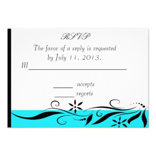 Caribbean Blue and Black RSVP Personalized Invites