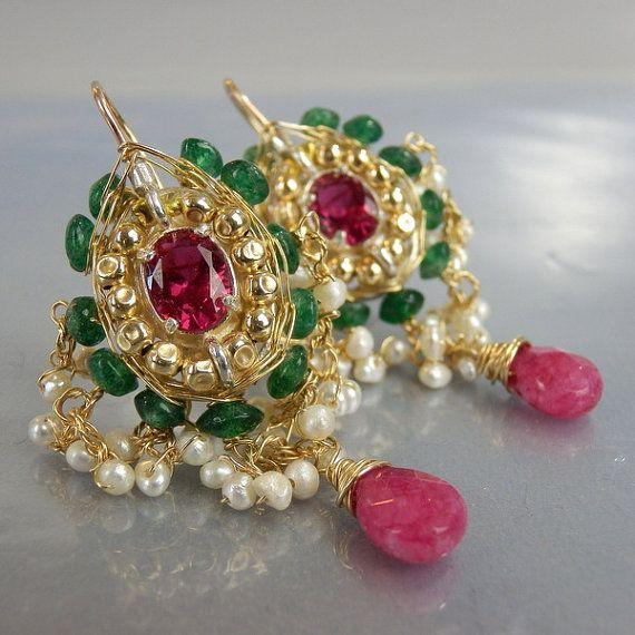 Statement Earrings Wedding Jewelry Indian Maharaja by yifatbareket