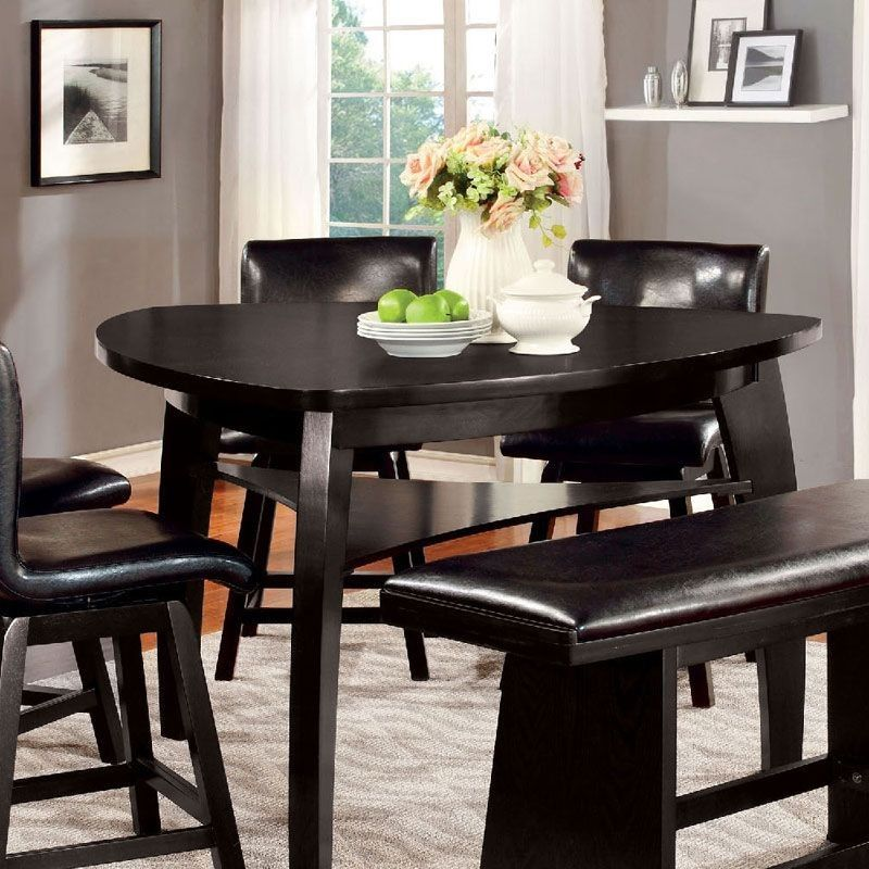 Hurley Cm3433pt Black Wood Triangular Counter Height Table
