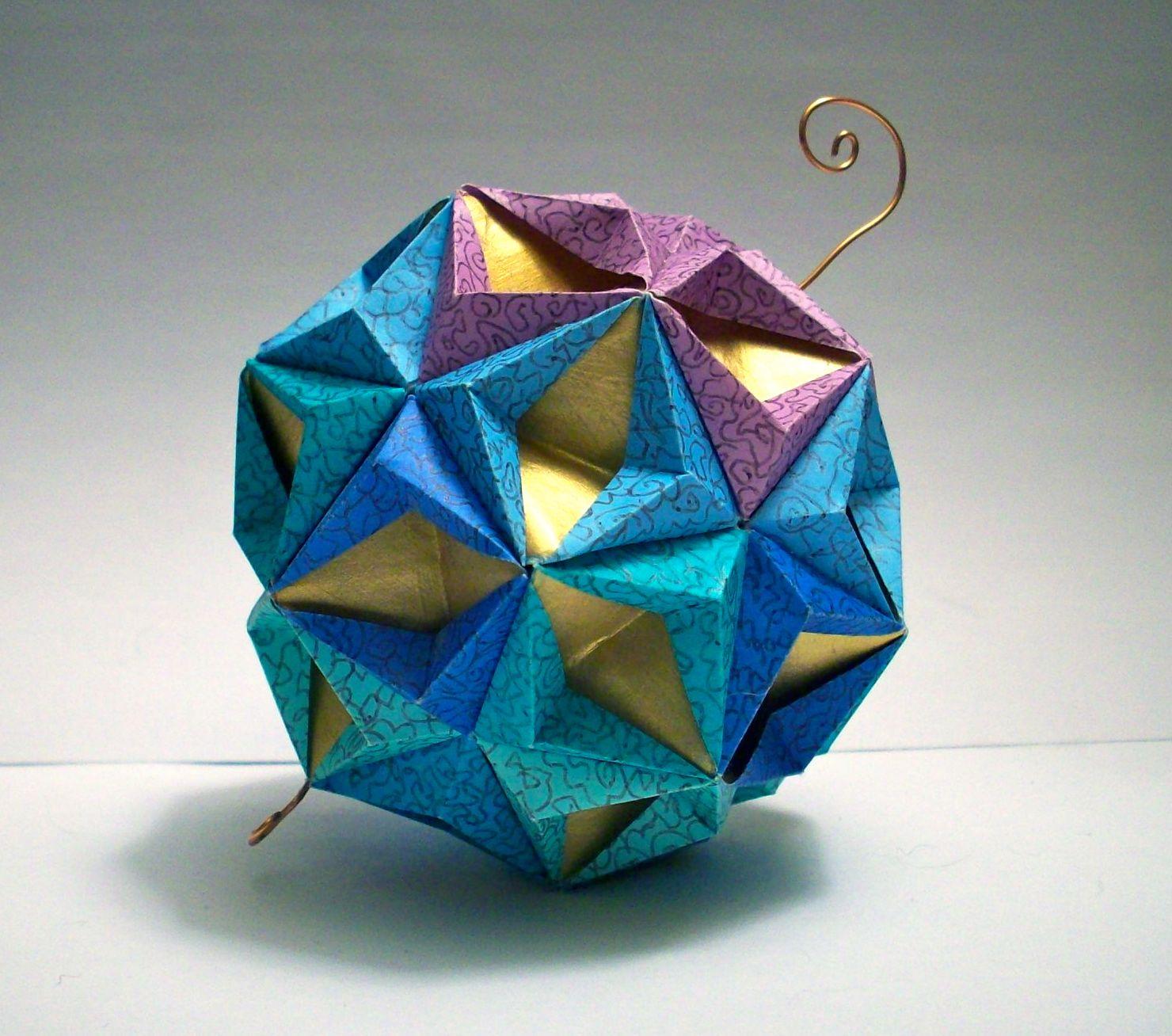 Origami Modular Star Ball - Gold, Blue, Green and Purple ... - photo#32