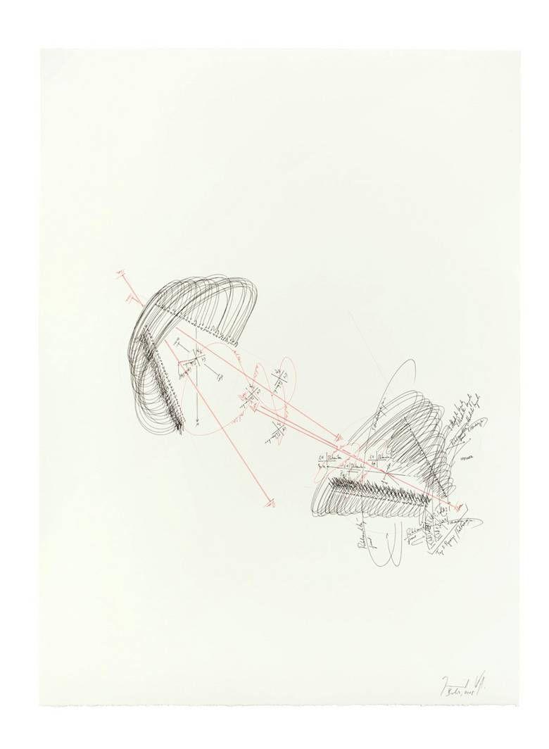 """Jorinde Voigt, """"MATRIX-STUDIE 37"""", 2008, Rote und schwarze Tinte und Bleistift auf Fabriano-Velin,  76 x 56 cm, Unten rechts signiert, bezeichnet und datiert, EUR 6.000 – 8.000 bei Grisebach"""