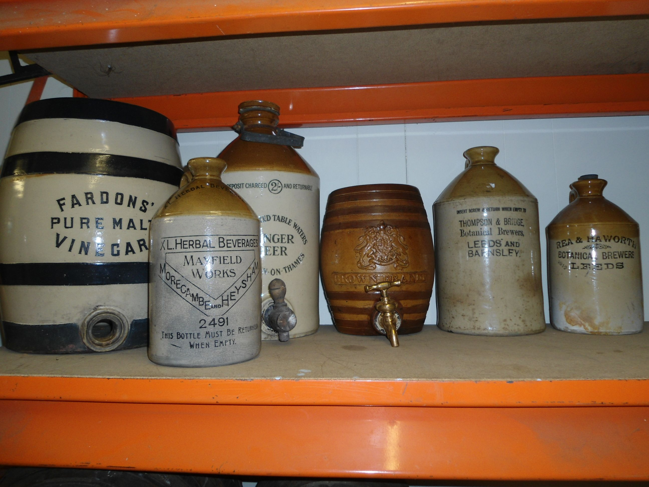 a selection of old flaggons