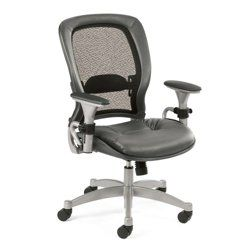 Ergonomic Chair with Gray Leather Seat and Mesh Back - 56484, NBF Office Chairs