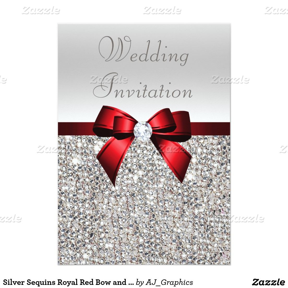Silver Sequins Royal Red Bow and Diamond Wedding Card | Royal red ...