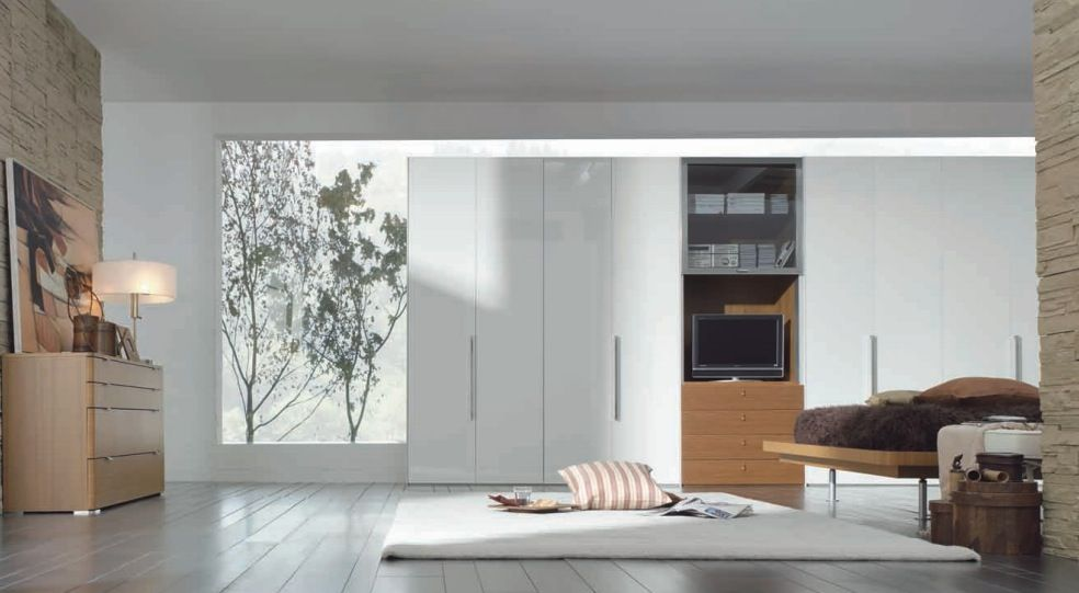Modern White Wardrobe With Elite Wardrobe Cabinet Plus Laminated Wooden  Floor Also Creame Stoned Walls Plus White Rugs And Striped White Brown  Cushion ...