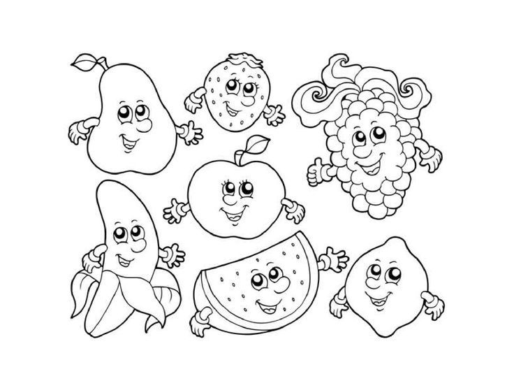 Cartoon Fruits Coloring Page 1 Crafts And Worksheets For Preschool Toddler And Kindergarten Fruit Coloring Pages Apple Coloring Pages Fruit Cartoon