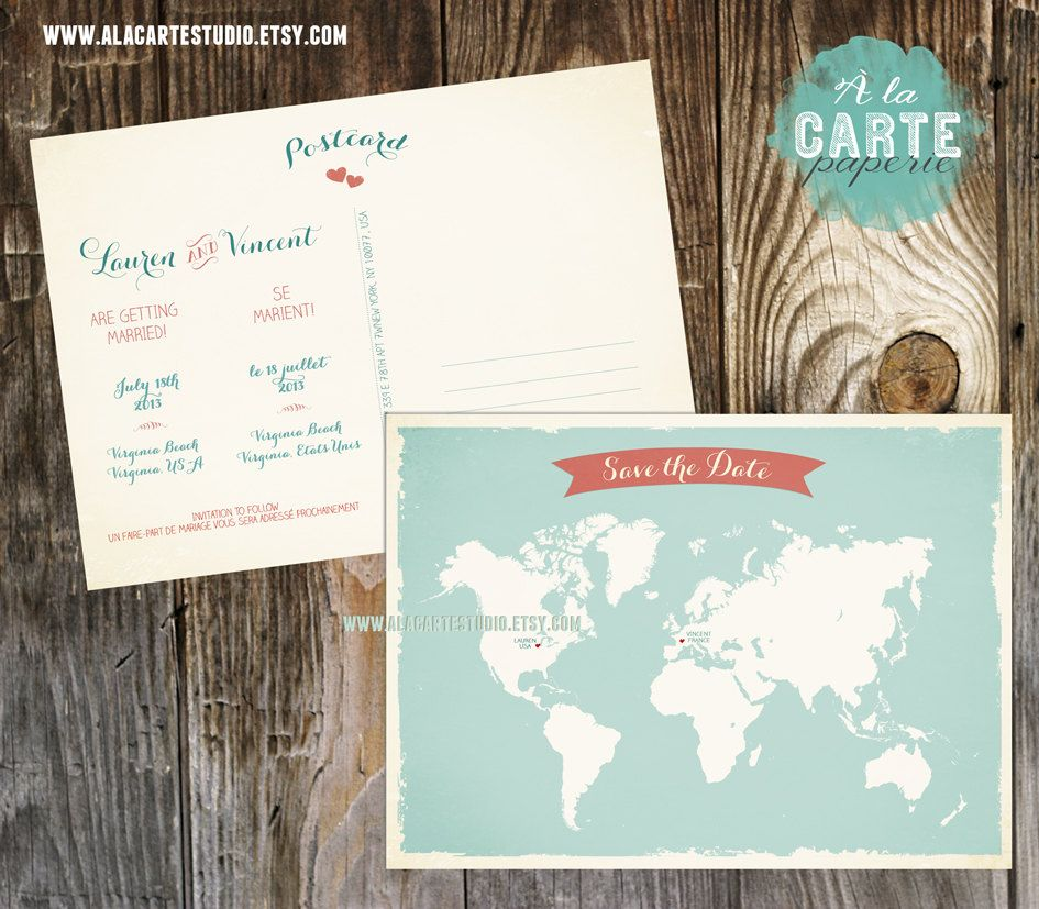 bilingual wedding save the date card - world map card. $20.00, via, Wedding invitations