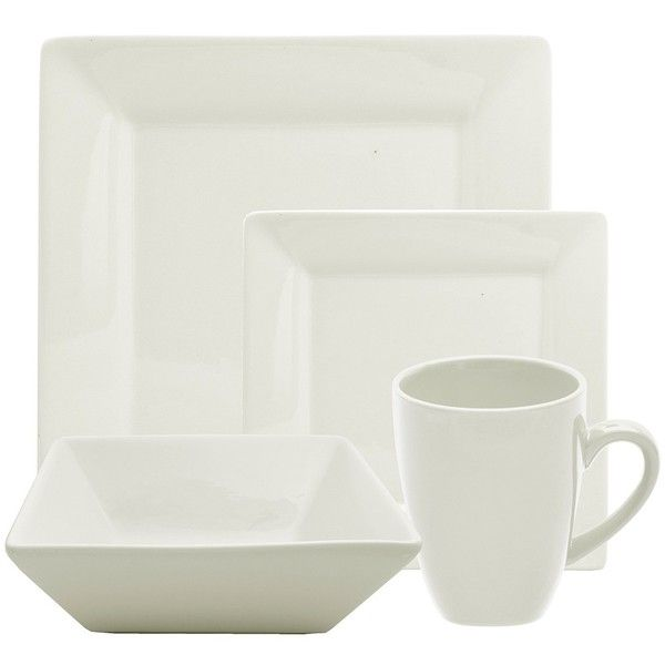 ... ($57) ❤ liked on Polyvore featuring home kitchen \u0026 dining dinnerware cream white cream colored dinner plates dinner plates dinner set off white ...  sc 1 st  Pinterest & 10 Strawberry Street Cream White 16-Piece Square Dinner Set ($57 ...