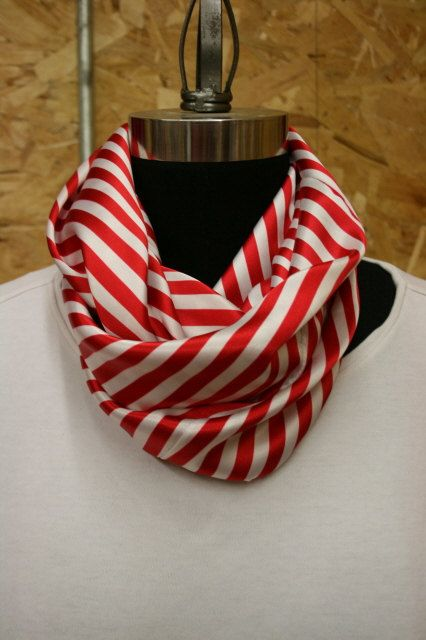 Candy Cane Striped Soft Satin Infinity Scarf By Rhfoxoriginals