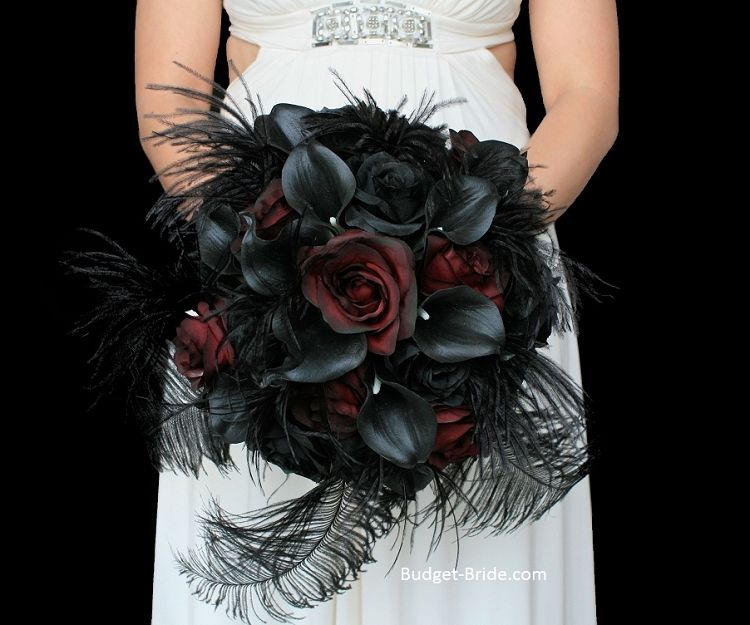 Peacock Feather Wedding Flower Package Red Bouquet Wedding Pretty Wedding Bouquet Wedding Bouquets