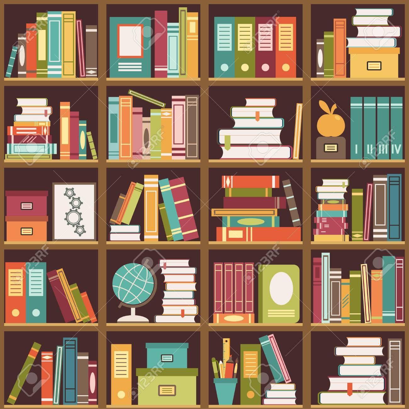 Seamless Pattern With Books On Bookshelves Vector Illustration Bookshelf Art Seamless Background Seamless Patterns