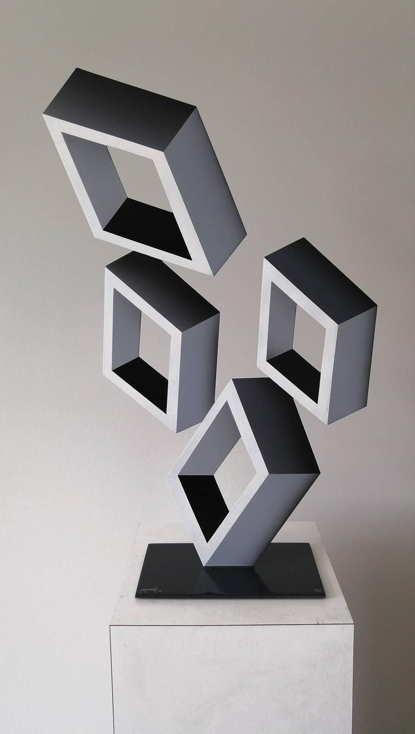 4 White Boxes Illusion Sculpture Painted Metal Sculpture Metallic Paint Metal Sculpture
