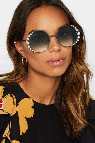 ec26f1dab016 Fendi - Faux Pearl-embellished Round-frame Gunmetal-tone Sunglasses - Gray