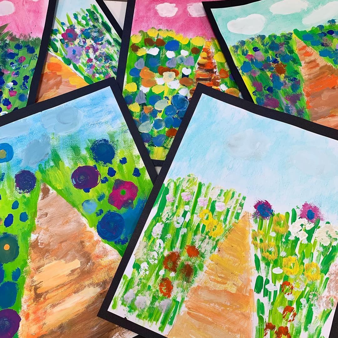 "Photo of Laura Lohmann on Instagram: ""Monet's Garden Path. Chalk and tempera paint. 3rd grade artists created these beauties. #paintedpaperartlessons #arthistoryforkids #kidsart"""