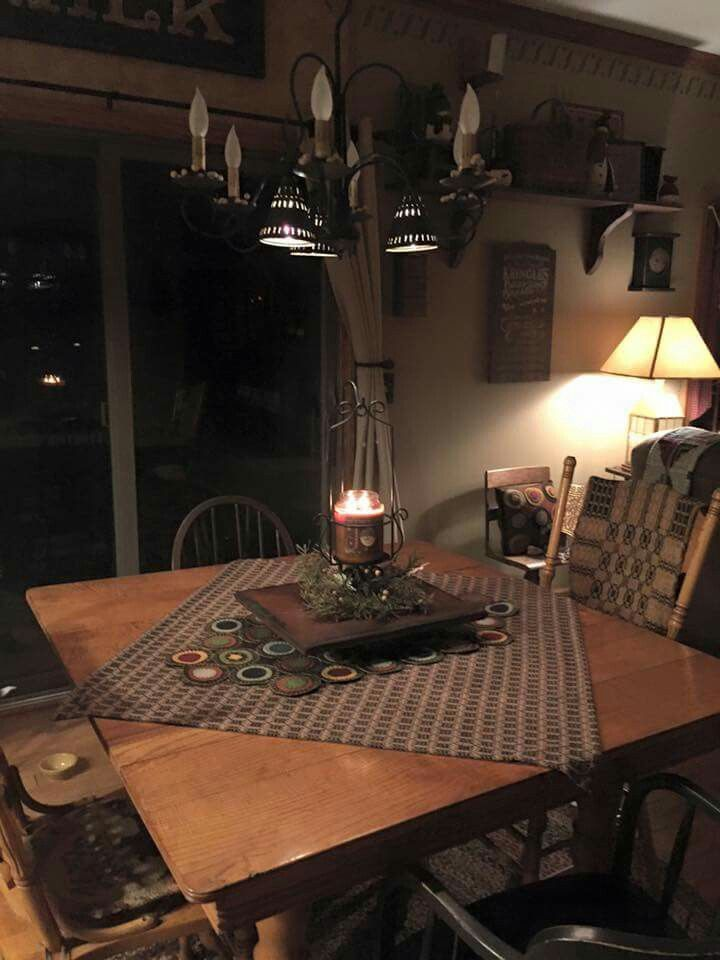 Simple And So Cozy Looking Primitive Centerpiece Primitive Decorating Primitive Kitchen Primitive Decorating Country