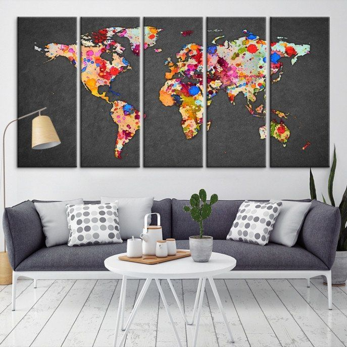 20647 large wall art world map canvas print watercolor world map 20647 large wall art world map canvas print watercolor world map travel canvas print modern xxl gumiabroncs Gallery