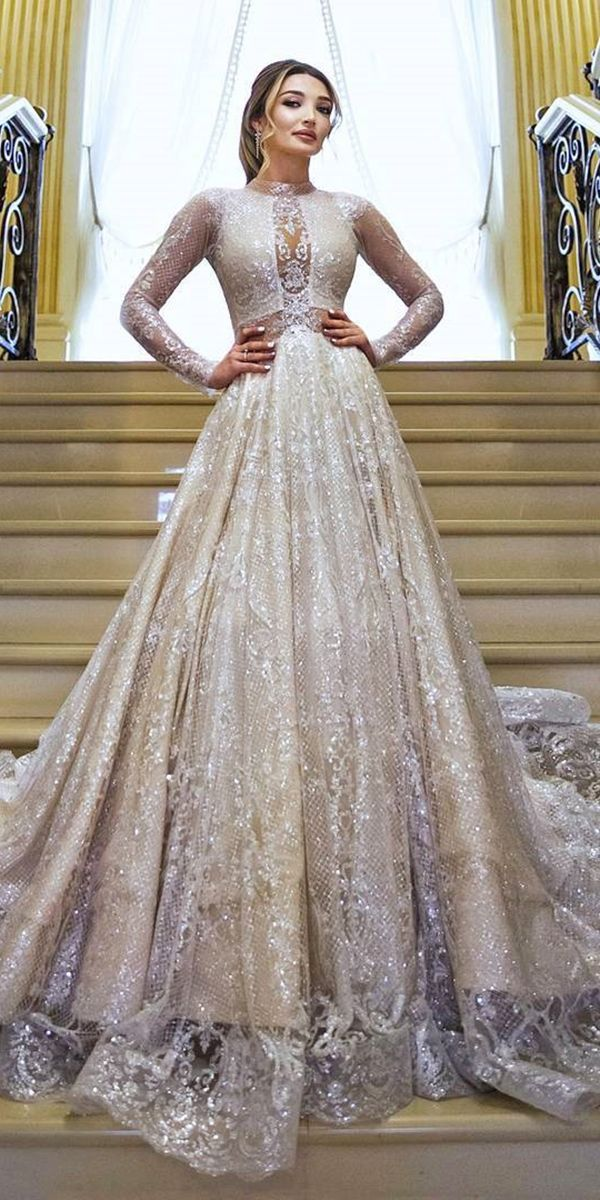 Glitter Lace Ball Gown Gold Long Sleeve Wedding Dress