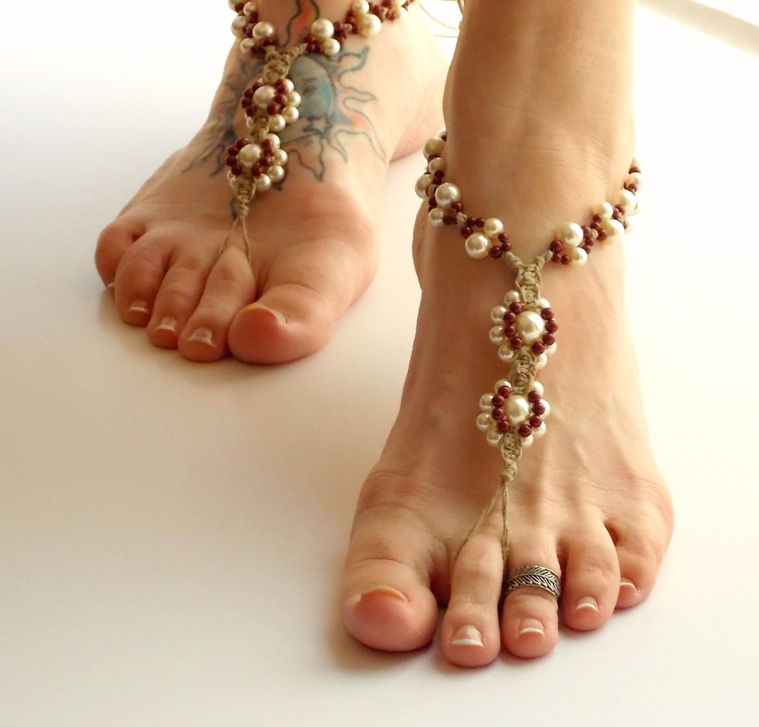 Beaded Barefoot Sandals Bridal Party Colors Bridesmaids