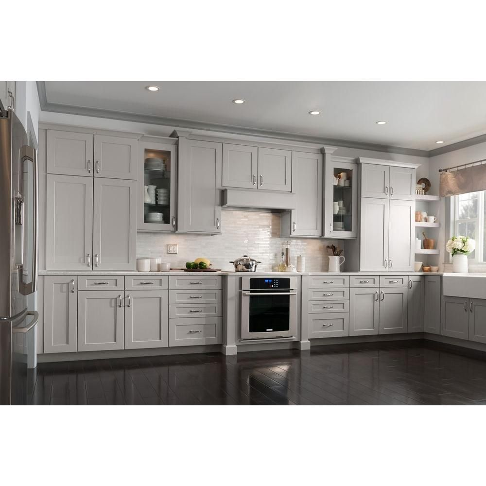 American Woodmark 14916x1412 in Cabinet Door Sample in Reading Painted Stone Soft Gray