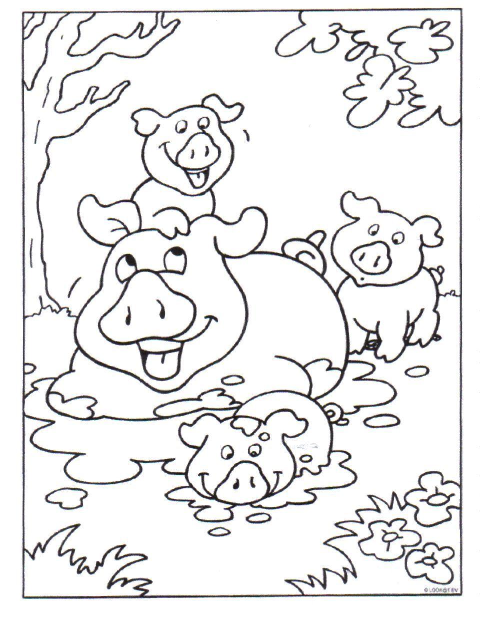 kleurplaat varkens kleurplaten dieren kleurplaten