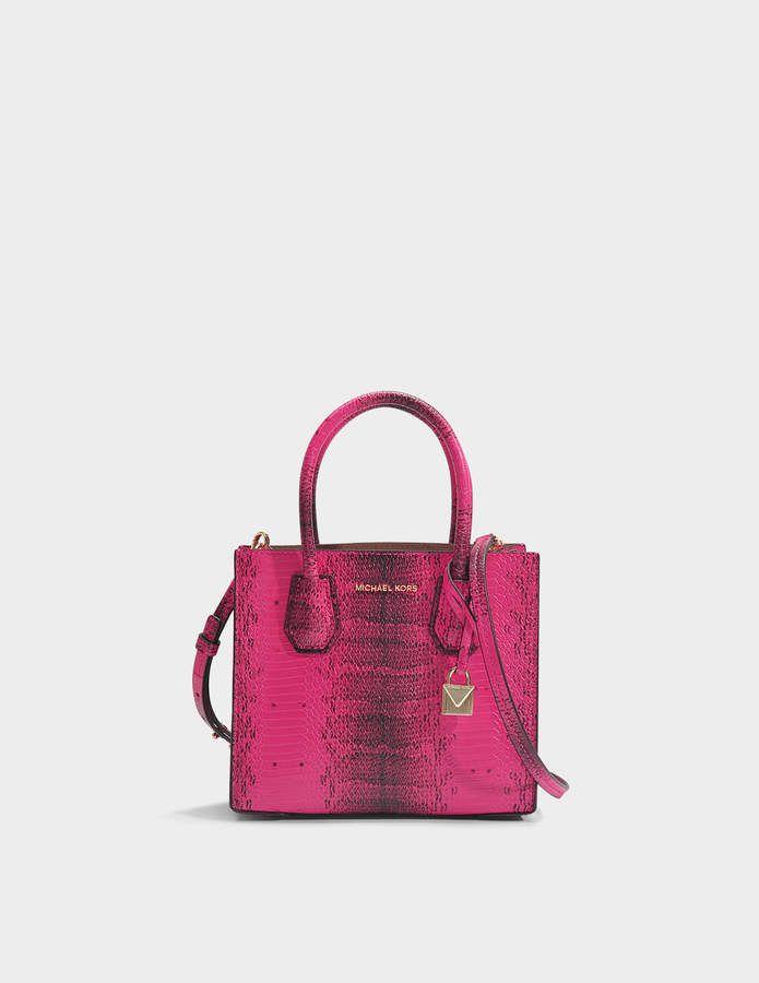 a230802da9d2 MICHAEL Michael Kors Mercer Medium Messenger Bag in Ultra Pink Python  Embossed Calfskin