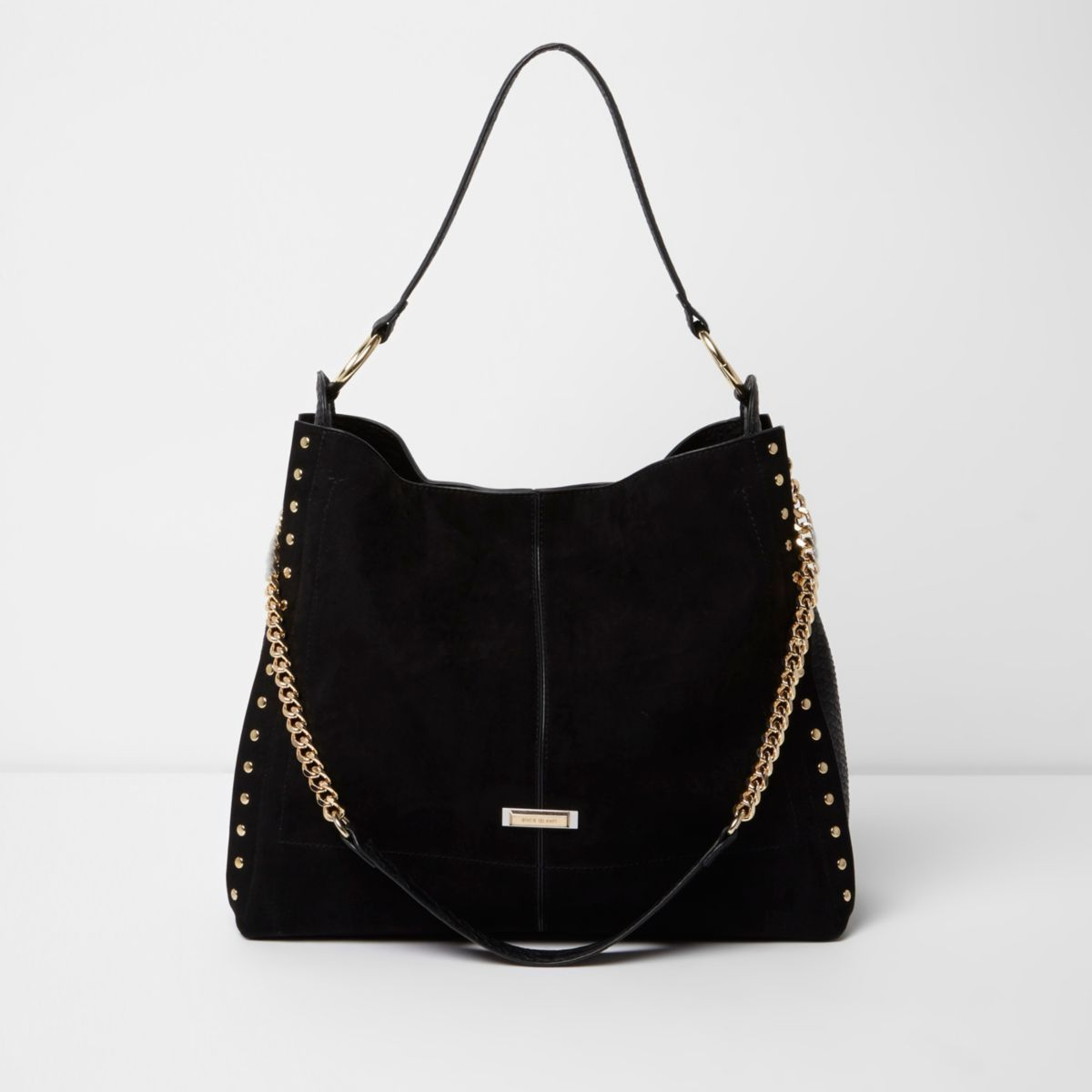 ffdbbc4e01a Black studded oversized slouch chain bag - Shoulder Bags - Bags   Purses -  women