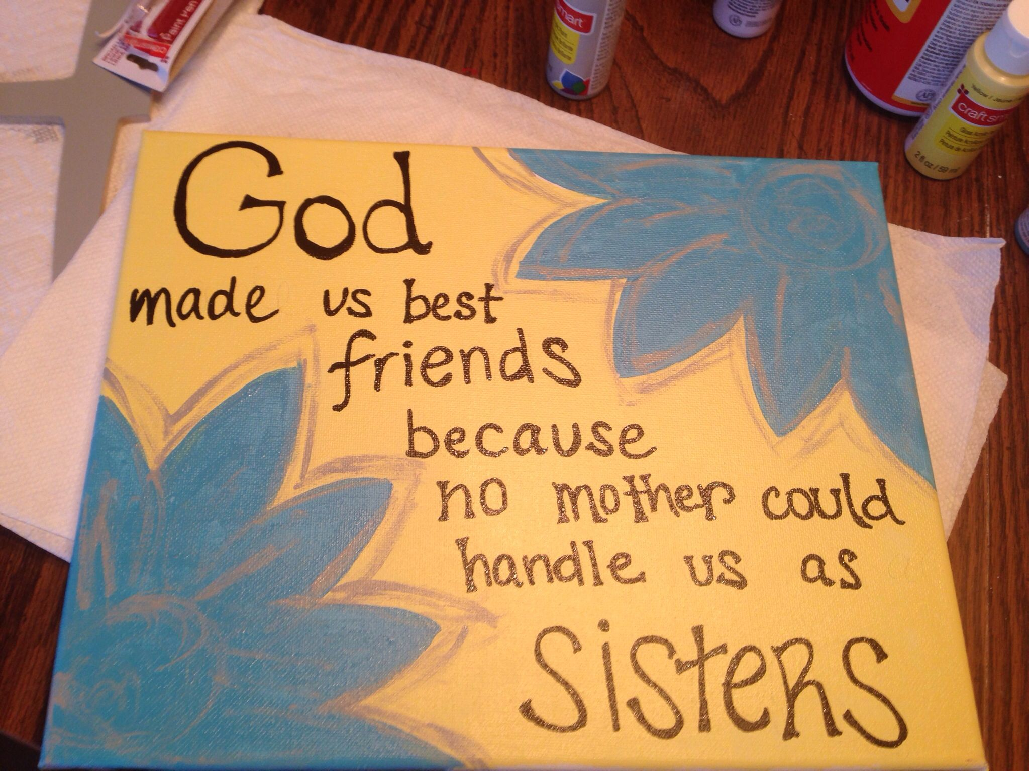 Best friend diy canvas college ideas pinterest diy for Easy presents to make for friends