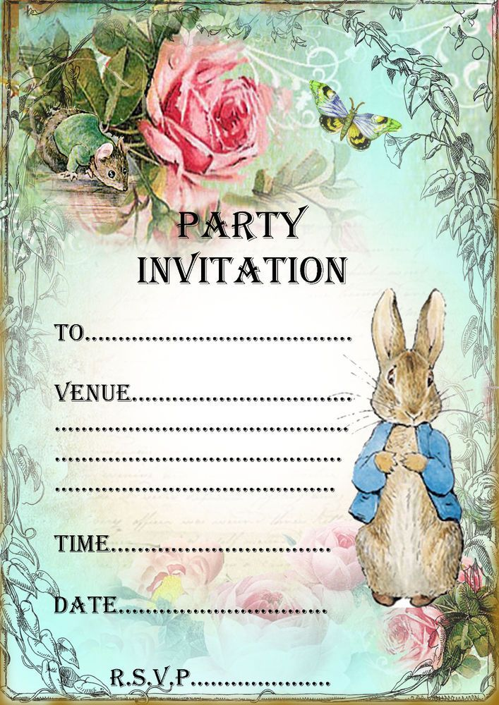 Party Invitations Peter Rabbit Invites kids Party Supplies Beatrix ...