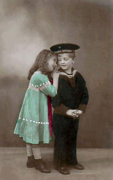 Colorized photo of children, boy in a sailor suit