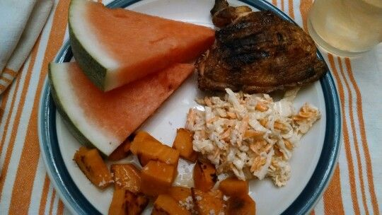 D1M3 - Cornell chicken thigh, mango coleslaw, salty sweet potatoes, and watermelon.