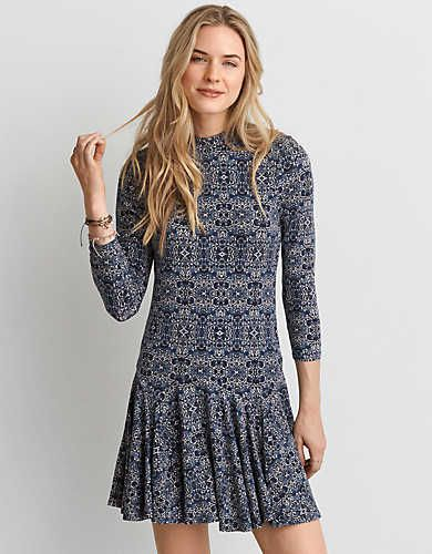 AEO Soft & Sexy Hi-Neck Dress , Teal   American Eagle Outfitters