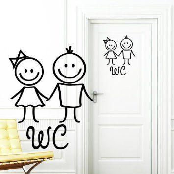 Wandtattoo loft tatuaje de pared pegatina de wc hombre y mujer en negro pegatina para - Cartel bano ...