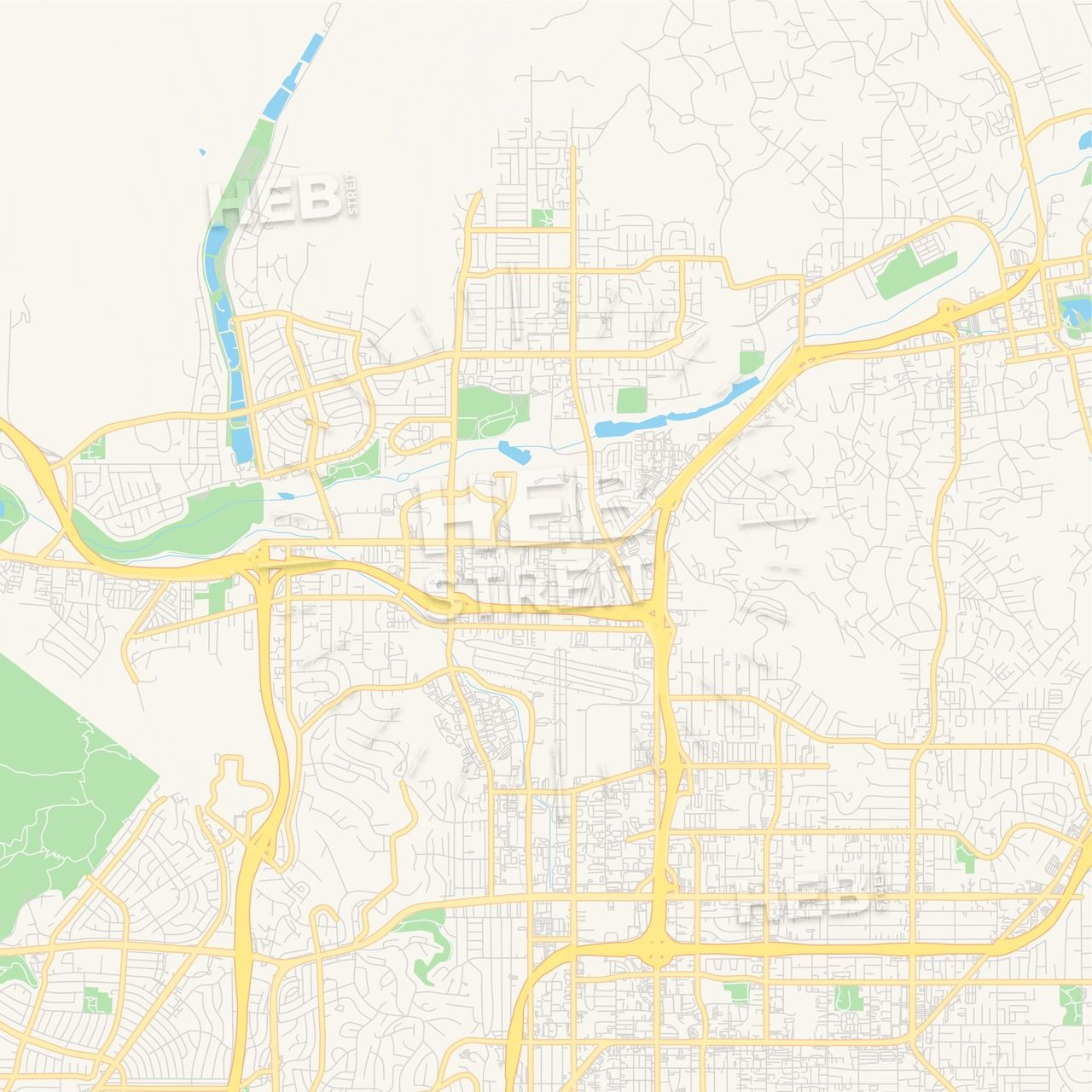 Empty vector map of Santee, California, USA | Maps Vector ...