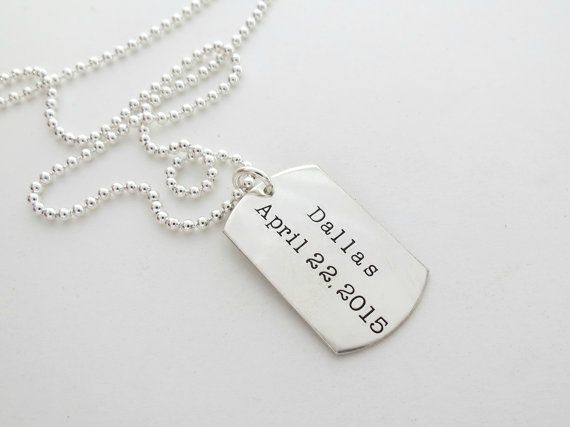 Personalized Dog Tag Necklace Custom Engrave Mens Jewelry