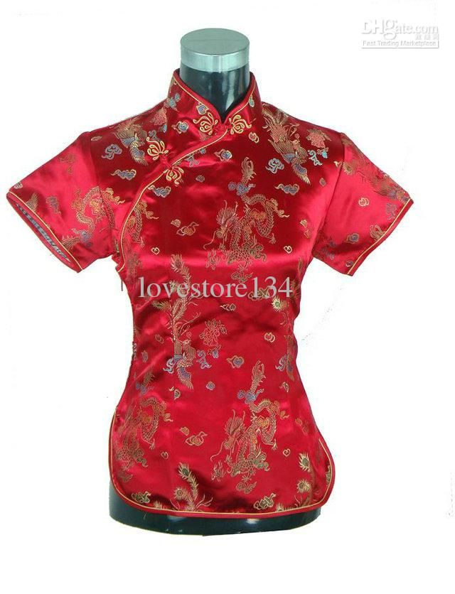 71afab452daaba Black Novelty Summer Blouse Mujer Camisa Chinese Womens Satin Polyester  Shirt Tops Short-sleeve Costumes Size S M L XL XXL. Cheap Chinese Dress -  Best ...