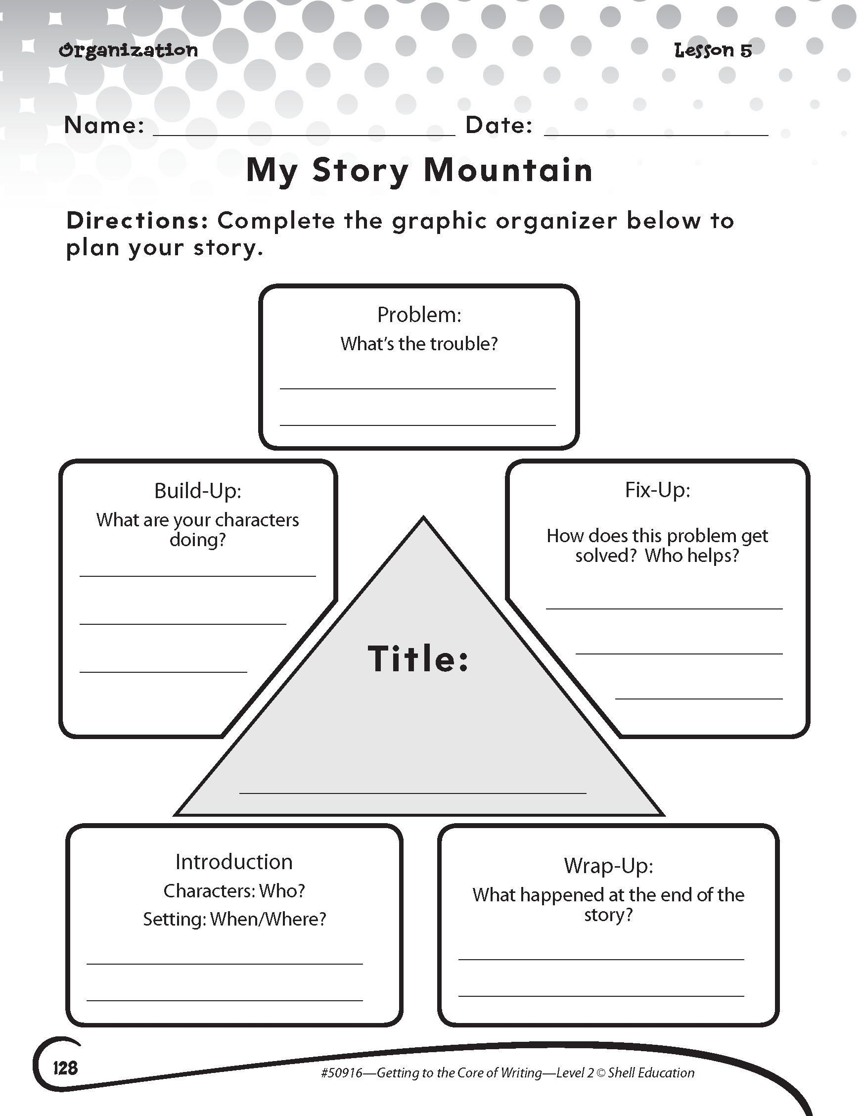 Elements Of Fiction Worksheet My Story Mountain Activity