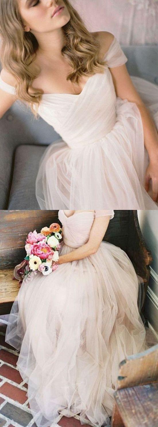 Simple A-Line Off-Shoulder Tulle Long Prom/Wedding Dress | Wedding ...