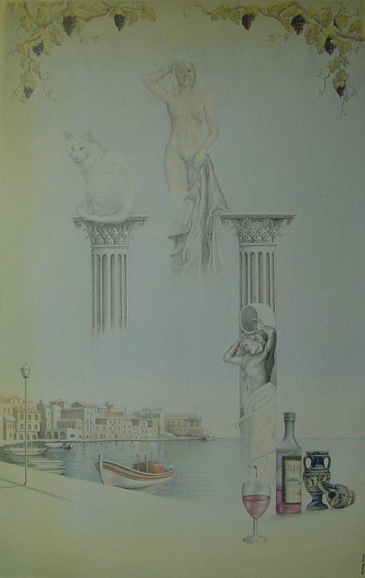 """Titel: """"Een droom veroorzaakt door het spinnen van een kat en rode wijn. Hoog boven een pilaster ontwaakt een godin na het inschenken van Kretenzische wijn"""". 2001. Gemengde techniek op 500gr papier"""