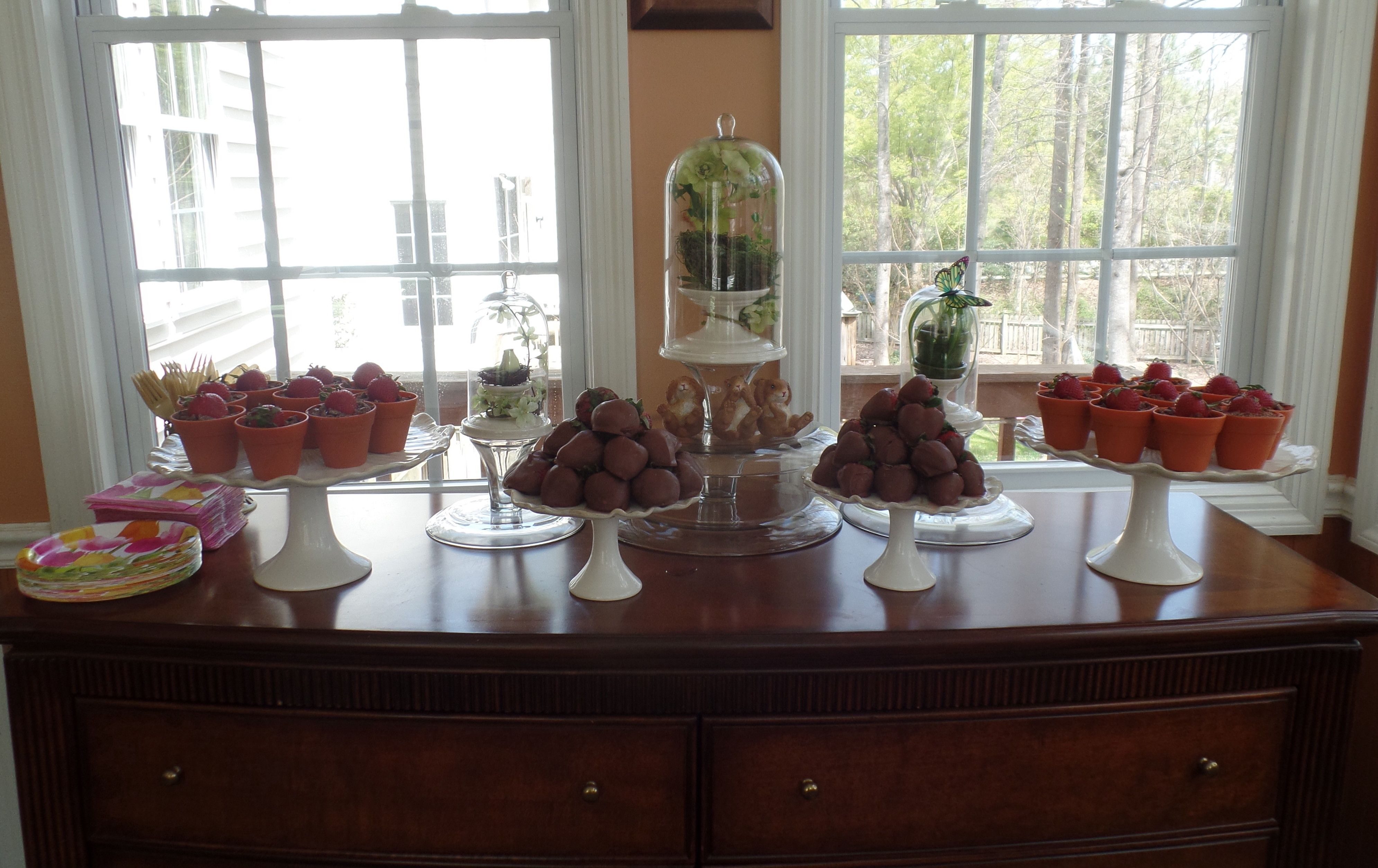 Easter dessert table...mini chocolate mousse in silicone flowerpots and chocolate covered strawberries