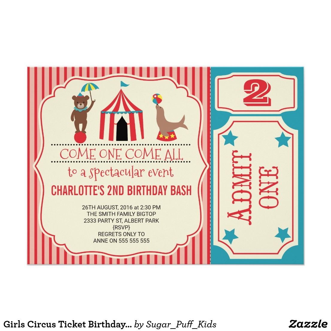 Girls Circus Ticket Birthday Party Invitation | Pinterest | Circus ...