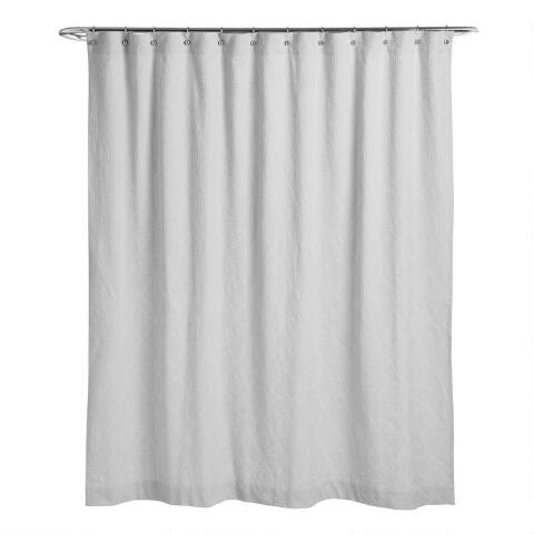 Pebble Gray Geometric Waffle Weave Shower Curtain World Market Waffle Weave Shower Curtain Cool Shower Curtains Shower Curtain Decor
