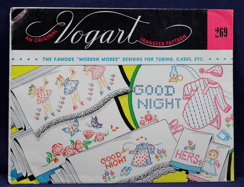 Vogart Good Night Pillowcase Embroidery Transfer 1950s Uncut