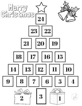 Christmas Tree Countdown Coloring Page