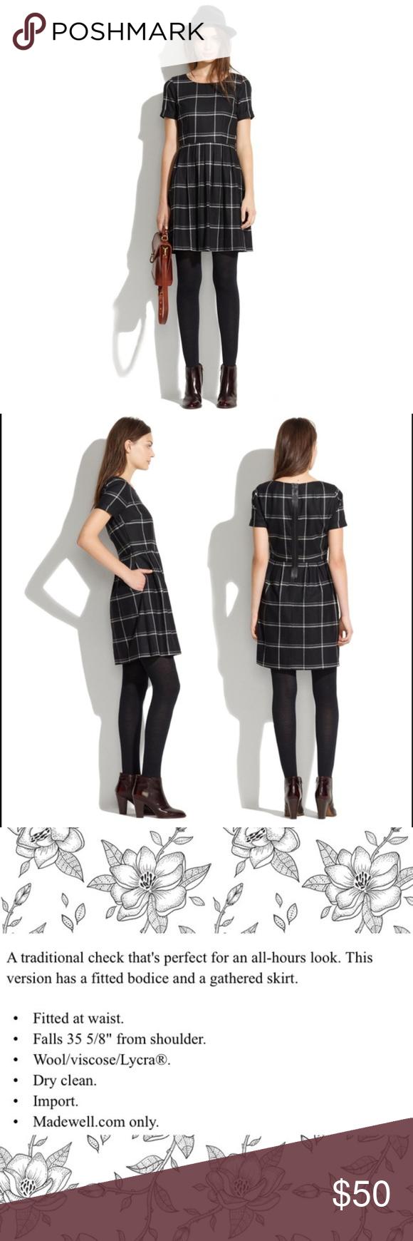c0e3f18c223 Madewell Windowpane black white check Twirl dress Lovely